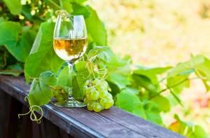 Grüne Traube und Weißwein