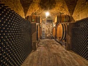 Weinkeller mit Flaschen und Eichenfässern