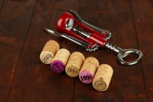 Weinkorken mit Korkenzieher