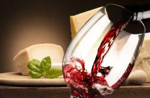 Rotwein und Parmesan
